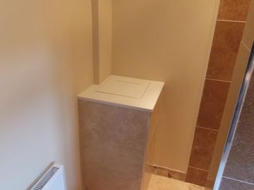 Utility Laundry Chute From Bathroom In Cream